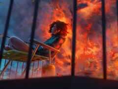 девушка, балкон, burn