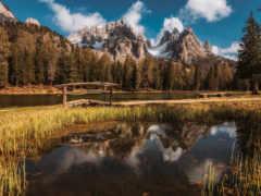 отражение, озеро, tapety
