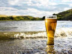 пиво, море, glass