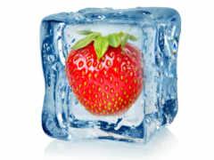 фрукты, лед, клубника