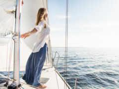 девушка, яхта, море