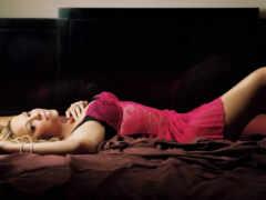 девушка, картинка, кровать