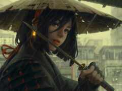 самурай, шляпа, девушка