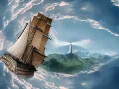 корабль, lighthouse, облако
