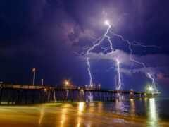 lightning, море, облако