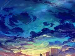 облака, небо, городской пейзаж
