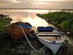 лодка, озеро, закат