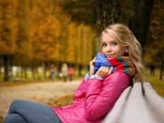 девушка, настроение, осень