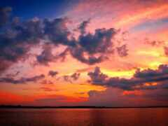 небо, красивый, закат