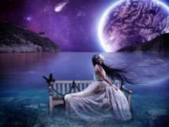 небо, луна, лунно