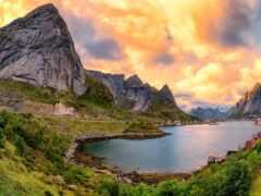 норвегия, fjord, остров