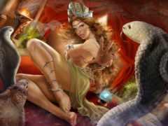 девушка, картинка, змеи