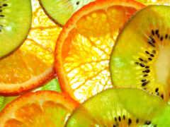 фрукты, апельсины, киви