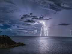 lightning, comics, ocean