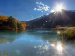 восход, озеро, гора