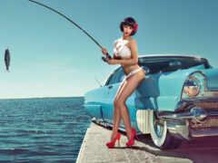 рыбалка, девушка