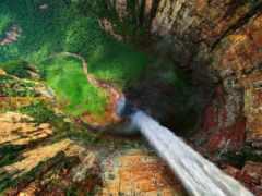 водопад, анхель, мире