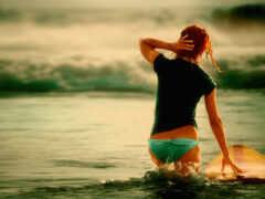 девушка, сёрфинг, доска