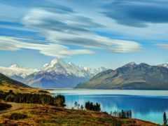 озеро, pukaki, горы