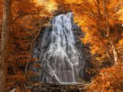 водопад, осень, лес