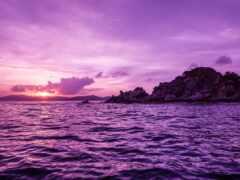purple, море, закат