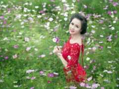 девушка, поле, cvety