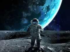 астронавт, луна, детская