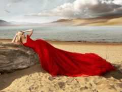 платье, красное, девушка