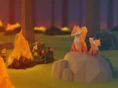 огонь, фокс, poly