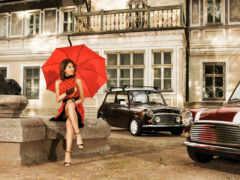 девушка, зонтик, зонтом