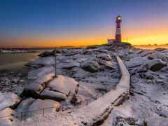 zima, lighthouse, qish