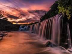 водопад, япония, каскад