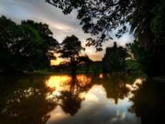 река, закат, отражение