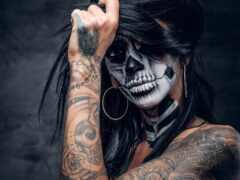 татуировка, девушка, gothic