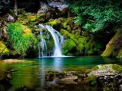 водопады, природа, красивые