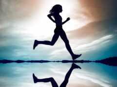 девушка, бежать, running
