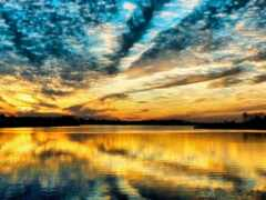 небо, закат, красивый