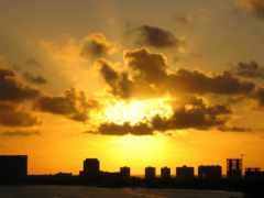 закат, солнца, oblaka