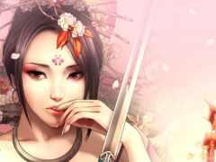 гейша, картинка, меч