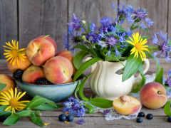 flowers, peaches, цветы