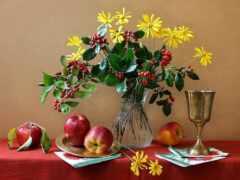 натюрморт, apple, цветы