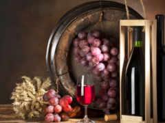 вино, бутылка, виноград