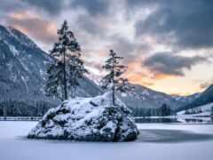 озеро, бавария, winter