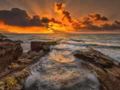 море, закат, rock