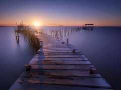 море, закат, мост