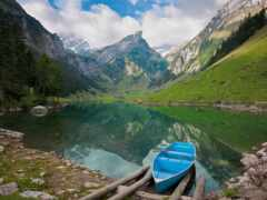 природа, гора, озеро