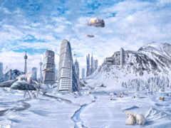 город, снег, будущее