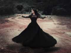 девушка, платье, черном