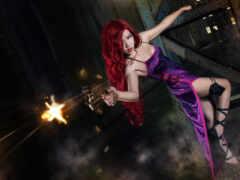 девушка, оружие, cosplay