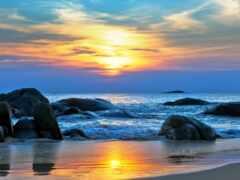 море, закат, ocean